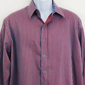 Robert Graham Blue Red Striped Dress Shirt Large